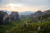 Sunset at Meteora Greece