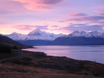 Sunset at Mount Cook  Lake Pukaki on the south island of New Zealand