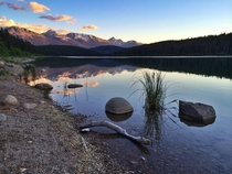 Sunset at Patricia Lake near Jasper ALberta Canada