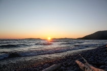 Sunset at Pebble Beach Lake Superior Marathon Ontario Canada