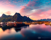 Sunset at Svolvr a town in the Lofoten - Norway