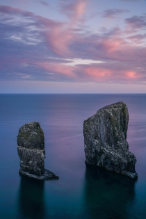 Sunset at the beautiful Elegug Stacks in Pembrokeshire Wales - Zooming in you can see all the birds nesting