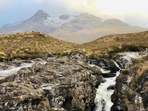 Sunset at the Cuillin mountain range in the Isle of Skye