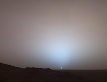 Sunset at the Gusev Crater on Mars captured by the Spirit rover in