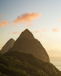 Sunset at the Pitons - Soufriere St Lucia  OC IG griffinbarnett