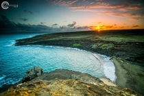 Sunset atop the rocks at Papaklea Green Sand Beach Hawaii USA