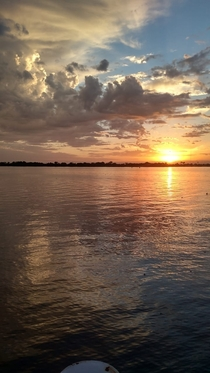 Sunset before the storm over the river Guaba Porto Alegre Brazil