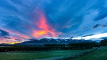 Sunset behind Mt Hutt - Canterbury New Zealand