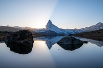 Sunset behind the Matterhorn reflected in the Stellisee Zermatt Switzerland