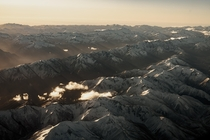Sunset Casting Shadows on the Southern Alps of New Zealand