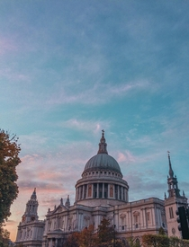 Sunset casting some great colour onto St Pauls in London England