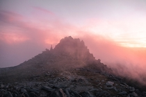 Sunset catching low cloud over Castell y Gwynt - Snowdonia  pete_ell