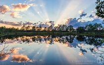 Sunset crepuscular rays in central Florida