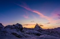 Sunset fading behind the Matterhorn - view from Rotenboden train station Zermatt