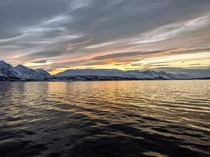 Sunset from a boat outside of Trondheim NO