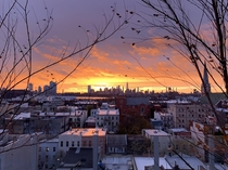Sunset from Brooklyn looking west-ish on a windy November evening