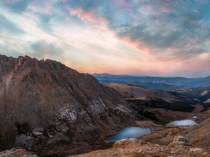 Sunset from Mount Evans overlooking Chicago Lakes in Colorado