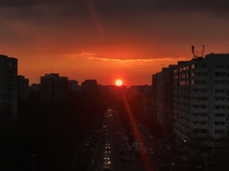 Sunset from my balcony Bucharest Romania