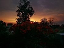 Sunset from my terrace Bhagalpur India