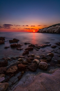Sunset from Sea Caves Cyprus