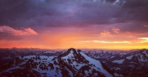 Sunset from the  foot summit of Mount Evans in Colorado