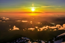 Sunset from the summit of Mt Hood Oregon