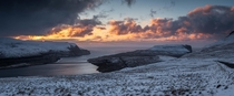 Sunset I was lucky to witness on my four day visit at the Faroe Island Six photos to make this panorama