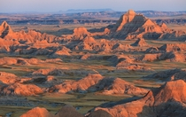 Sunset in Badlands South Dakota