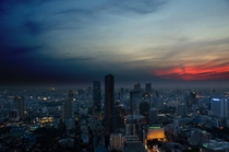 Sunset in Bangkok from the Banyan Tree