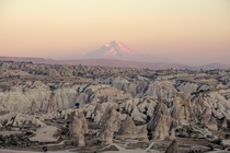 Sunset in Cappadocia Turkey with the creator Mount Erciyes towering over
