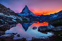 Sunset in Matterhorn Switzerland  by lhan Eroglu