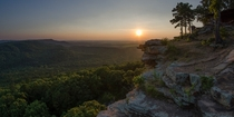 Sunset in Petitjean State Park in Arkansas