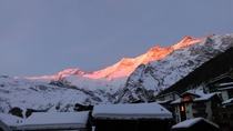 Sunset in Saas-Fee Switzerland