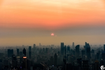 Sunset in Shanghai over concrete forest
