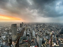 Sunset in Shibuya as the rain moves in