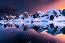 Sunset in the Antarctic Peninsula  Heres to you Dad