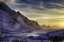 Sunset in the Lofoten Islands Norway