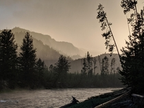 Sunset in the rain along the Madison River in Yellowstone National Park One of my favorite places on Earth