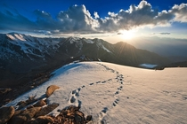 Sunset in the Tian Shan Mountains Kazakhstan by Elmar Akhmetov
