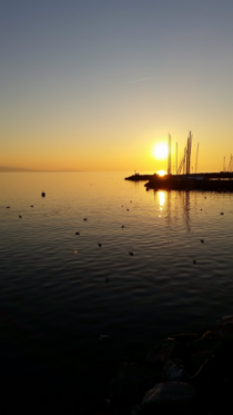 Sunset Lake Geneva Switzerland
