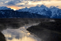 Sunset near Kelly Warm Springs in Grand Teton National Park  x