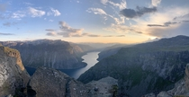 Sunset near Trolltunga Norway  OC