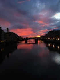 Sunset on a rainy day on Ponte Vecchio Florence