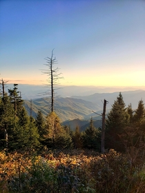 Sunset on Clingmans Dome Great Smoky Mountains National Park on the North Carolina - Tennessee border