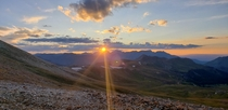 Sunset on Engineer Pass near Ouray CO
