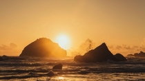 Sunset on Face Rock at Bandon Beach Oregon