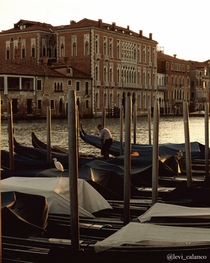 Sunset on Gondolas Venice Italy