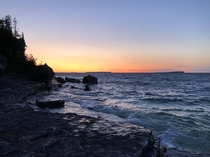 Sunset on Lake Huron in Bruce Peninsula National Park Ontario