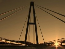 Sunset on the Bridge Ada Serbia