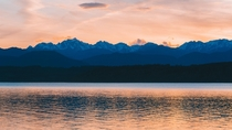 Sunset on the Hood Canal looking at Olympic National Park Recently moved to this side of Washington State  regrets